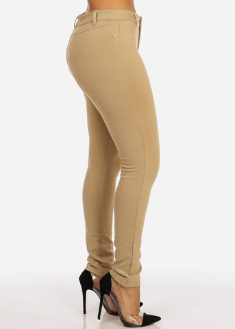 Image of Mid Waist Khaki Stretchy Pants