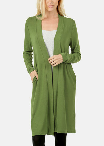 Long Sleeve Green Maxi Cardigan