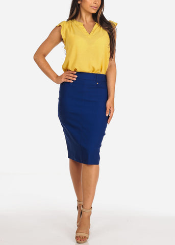 Women's Junior Ladies Stretchy Office Business Professional Career Wear Royal Blue Pencil Skirt