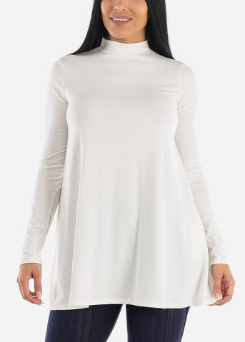 Image of Ivory Mock Neck Hip Long Sweater
