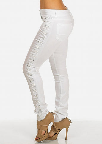 White Lace-Up Skinny Pants