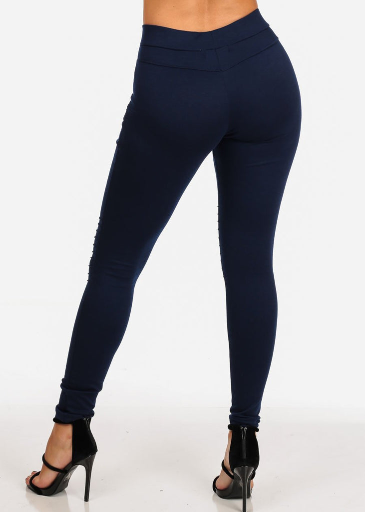 Women's Junior Ladies Sexy Pull On High  Rise Front Zipper Design Moto Style Navy Stretchy Pants