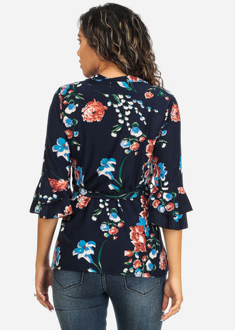 Ruffle Sleeve Floral Navy Top