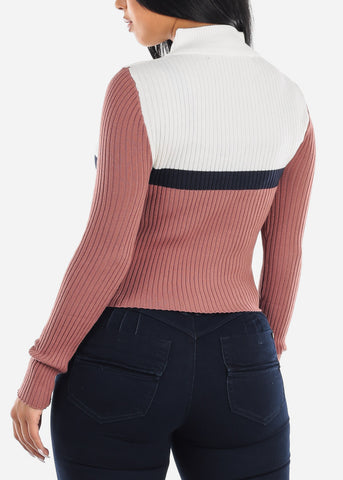 Mauve Color Block Half Zip Sweater