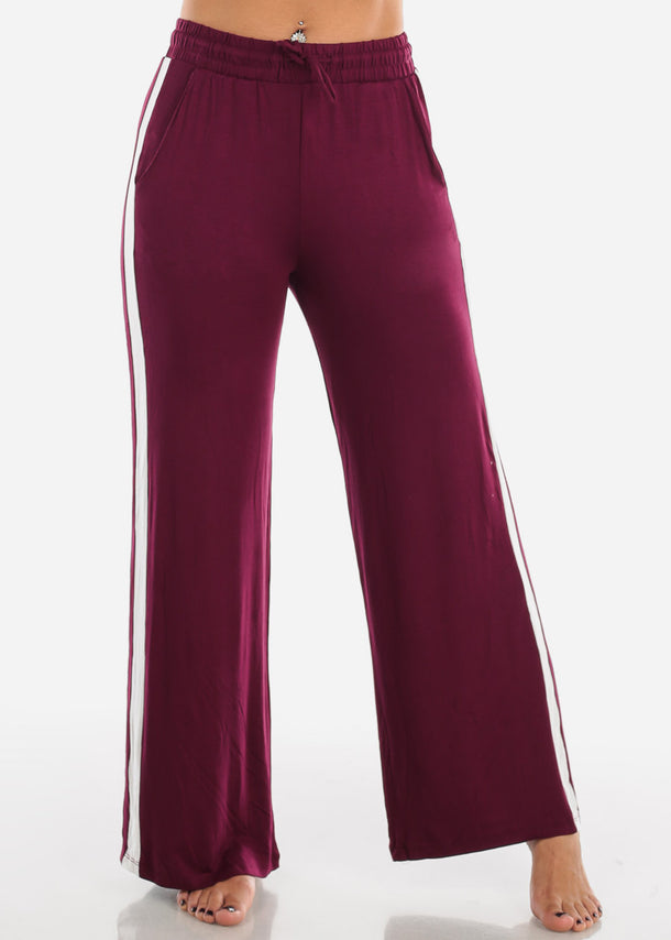 Side Stripe Wide Leg Burgundy Pants