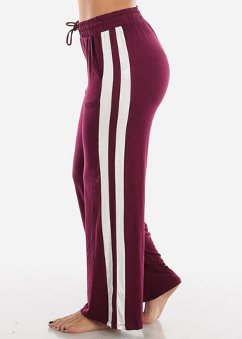 Image of Side Stripe Wide Leg Burgundy Pants 70858BURG
