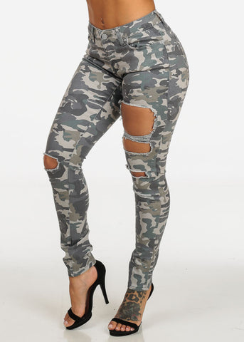 Camouflage One Button Skinny Jeans