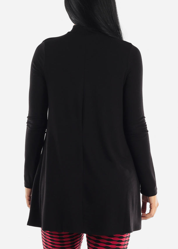Black Mock Neck Hip Long Tunic Top