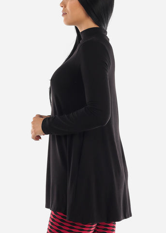 Black Mock Neck Hip Long Sweater