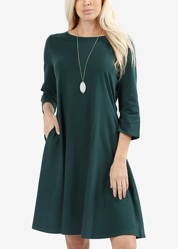 Classic A Line Dark Green Dress