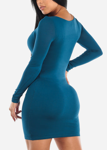 Image of Long Sleeve Teal Midi Dress