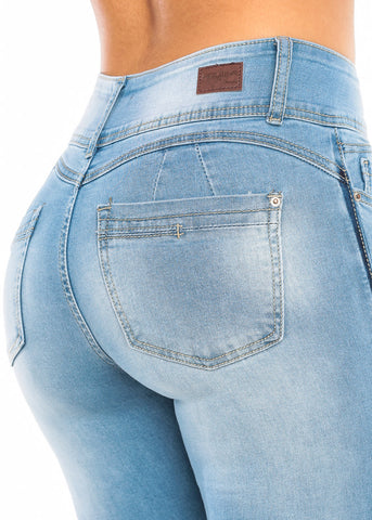 Image of Butt Lifting Light Wash Skinny Ankle Jeans