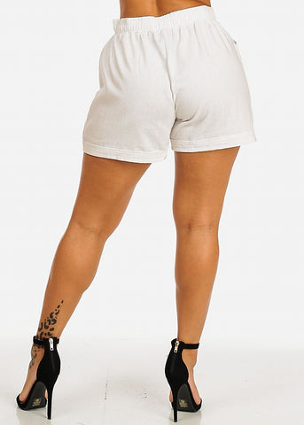 Image of Linen Drawstring White Casual Shorts