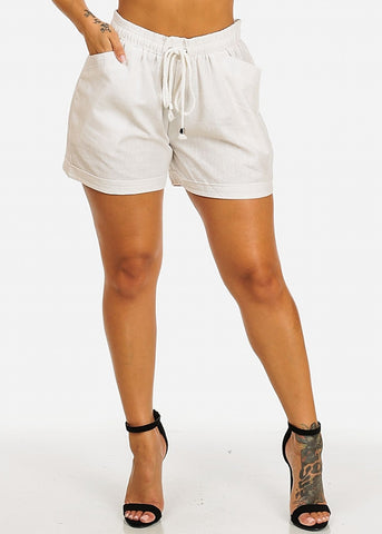 Linen Drawstring White Casual Shorts