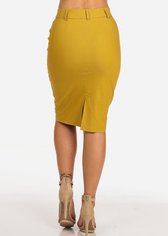 Women's Junior Ladies Stretchy Office Business Professional Career Wear Mustard Pencil Skirt