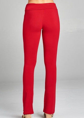 Red Fold Over Yoga Pants