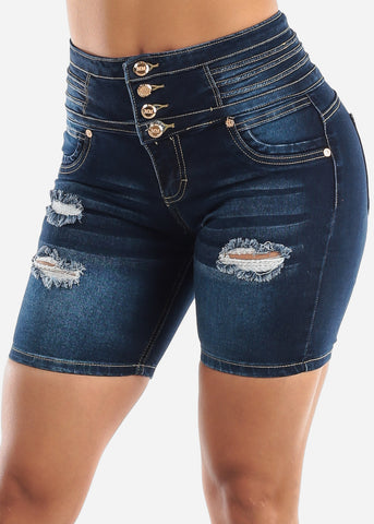 Image of Butt Lifting High Waisted Ripped Denim Shorts