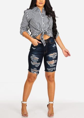 Sexy Trendy Dark Wash High Waisted Distressed Capris