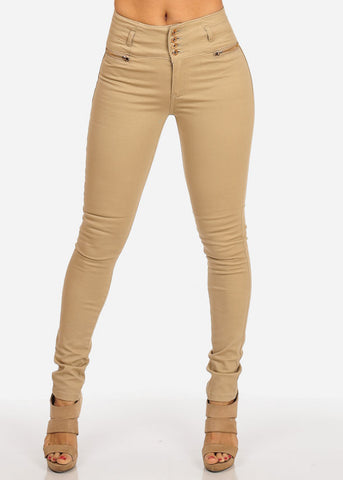Image of 4 Buttons Elastic Skinny Pants
