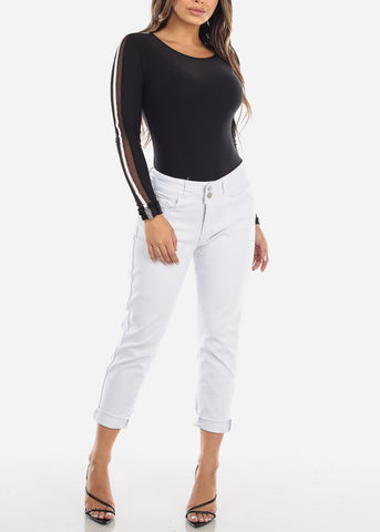 Image of High Rise White Ankle Jeans