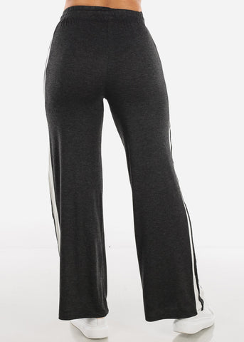 Side Stripe Wide Leg Charcoal Pants 70858CHRC