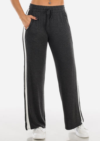 Image of Side Stripe Wide Leg Charcoal Pants 70858CHRC