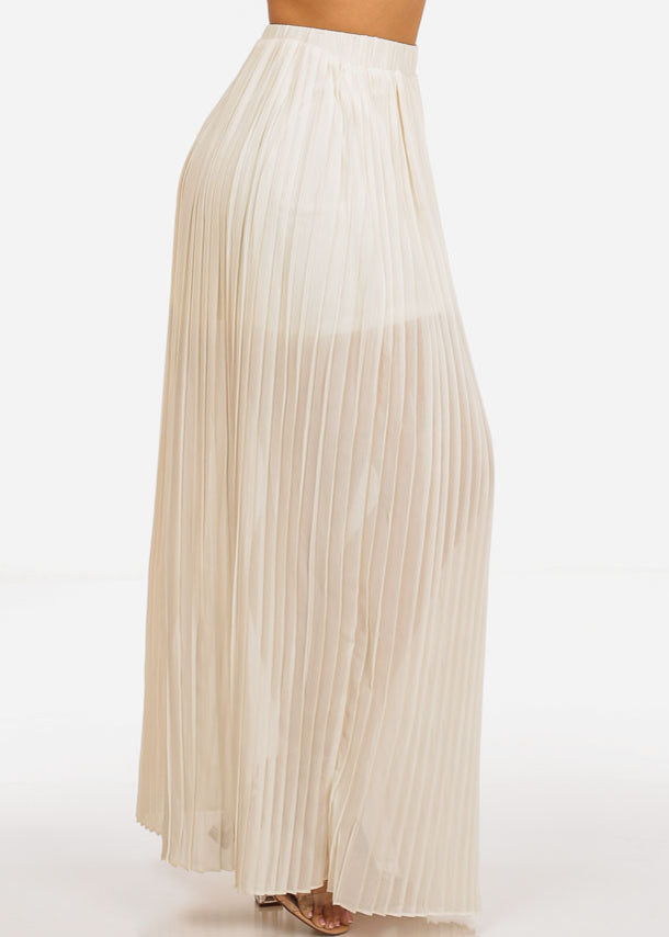 Beige Pleated Maxi Skirt