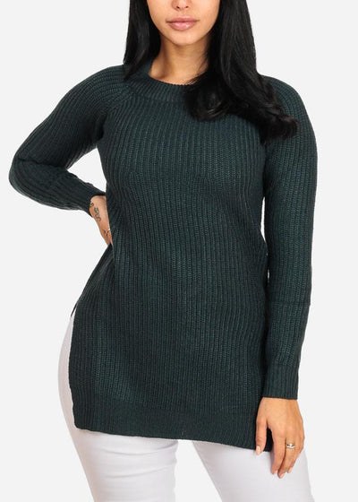 Cozy Knitted Teal Long Sweater