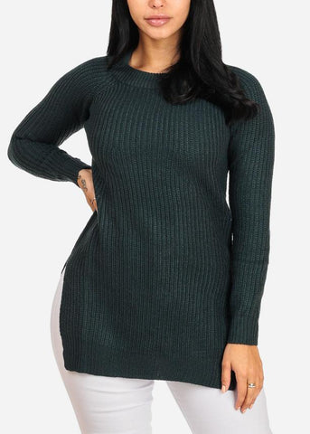 Teal Knitted Long Sweater