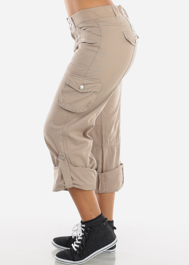 Roll Up Hem Khaki Cargo Pants
