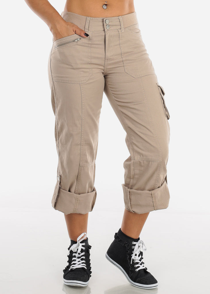 Roll Up Hem Khaki Cargo Pants 9148KHK