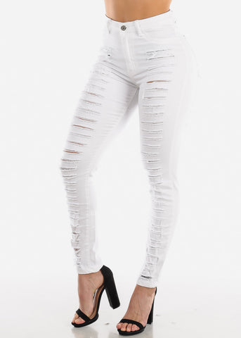High Rise Ripped White Skinny Jeans