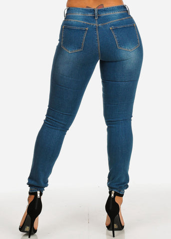 One Button Low Waist Jeans