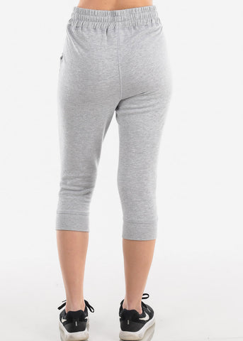 Image of Women's Junior Ladies Casual Lounge Wear Light Grey High Waisted Jersey Capri Joggers