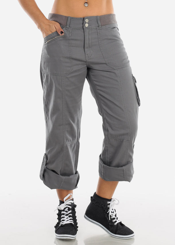 Plus Size Roll Up Hem Grey Cargo Pants