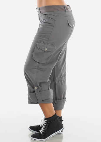 Roll Up Hem Grey Cargo Pants 9148GRY