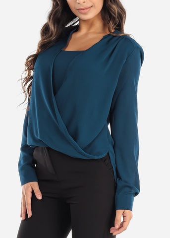 Teal Wrap Front Blouse