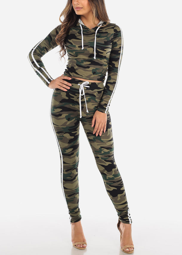 discount Black Camouflage Top & Pants