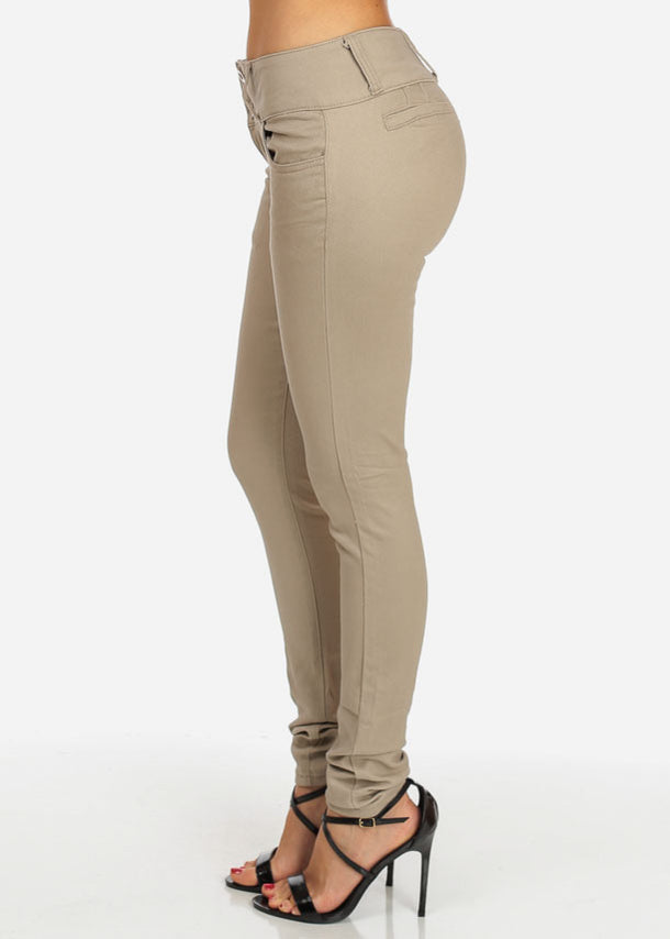 Khaki Butt Lifting Twill Pants