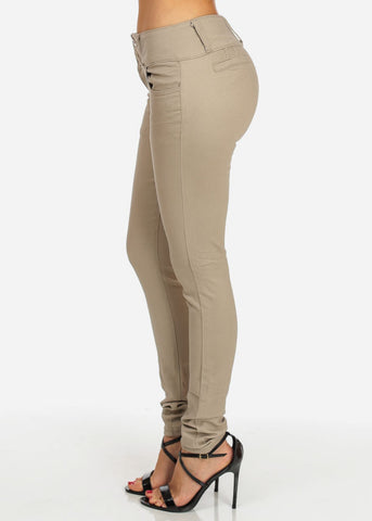 Image of Khaki Butt Lifting Twill Pants
