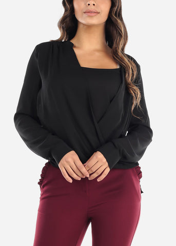 Black Wrap Front Blouse