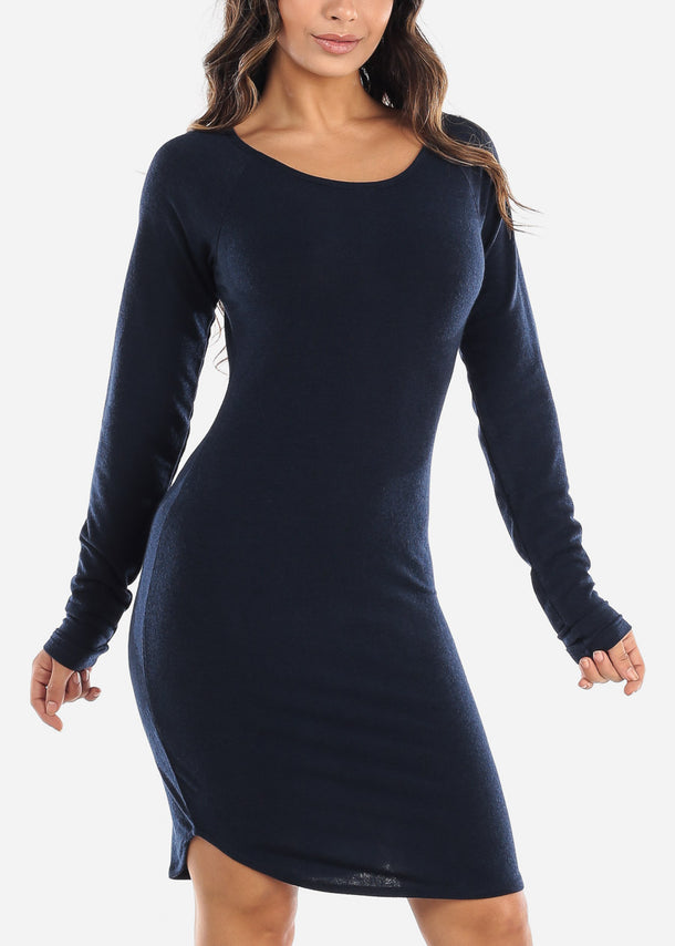 Casual Long Sleeve Navy Dress