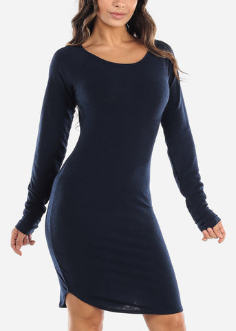 Image of Casual Long Sleeve Navy Dress