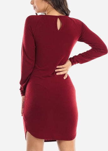 Image of Casual Long Sleeve Red Dress