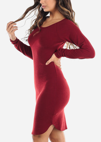 Casual Long Sleeve Red Dress