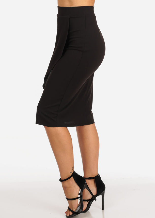Black Ruffled Pencil Skirt