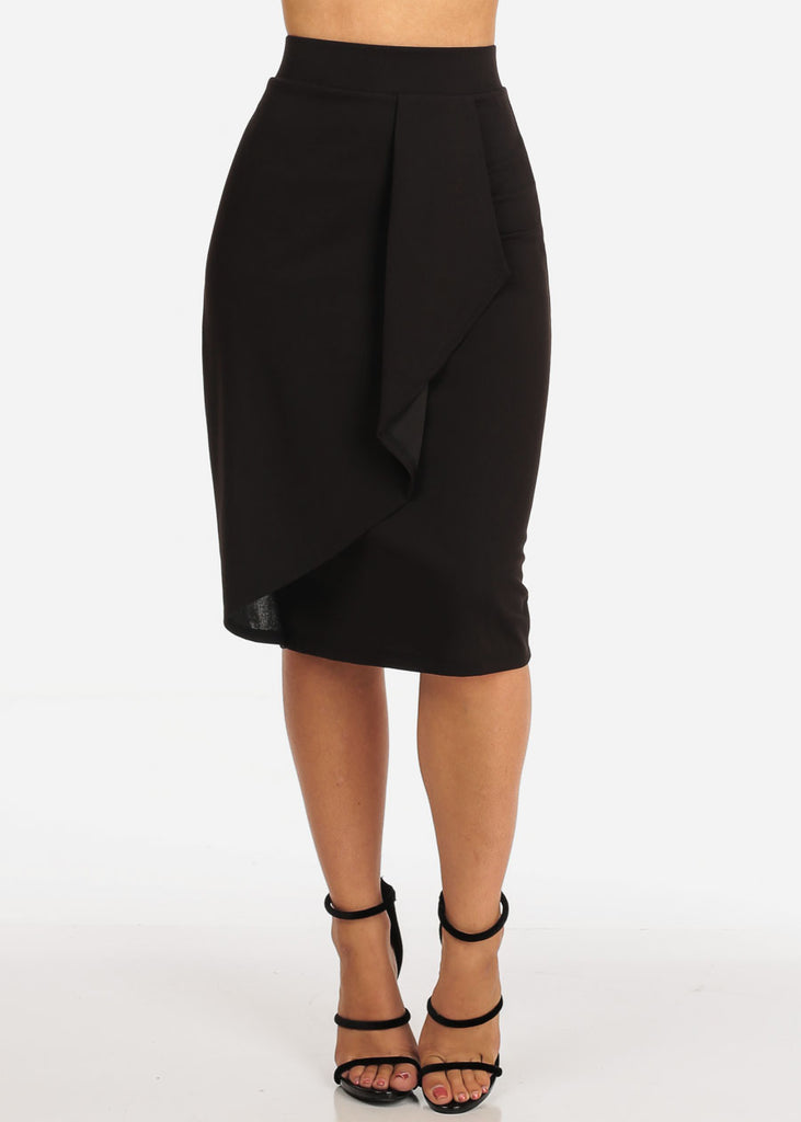 Women's Junior Ladies Dressy Office Business Career Wear Front Ruffle Side Detail Black Pencil Skirt