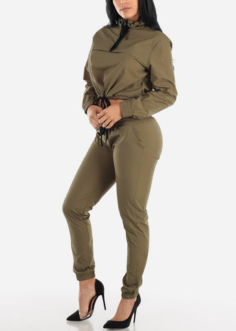 Image of Olive Windbreaker Jacket & Pants (2 PCE SET)