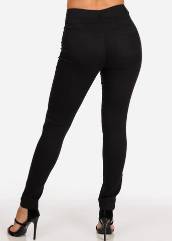 Image of Women's Junior Ladies 3 Button High Rise Solid Black Sexy Dressy Casual Going Out Skinny Pants