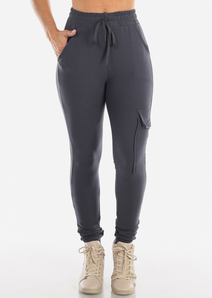 High Waisted Side Stripe Stretchy Charcoal Cargo Jogger Pants
